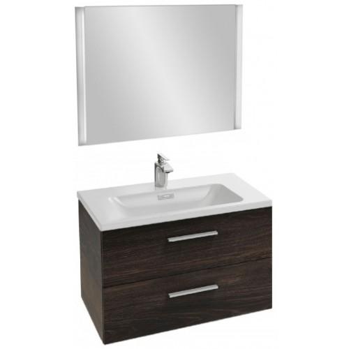 Мебель для ванной Jacob Delafon Vox 80 подвесная с 2-мя ящиками с прямой ручкой черное дерево