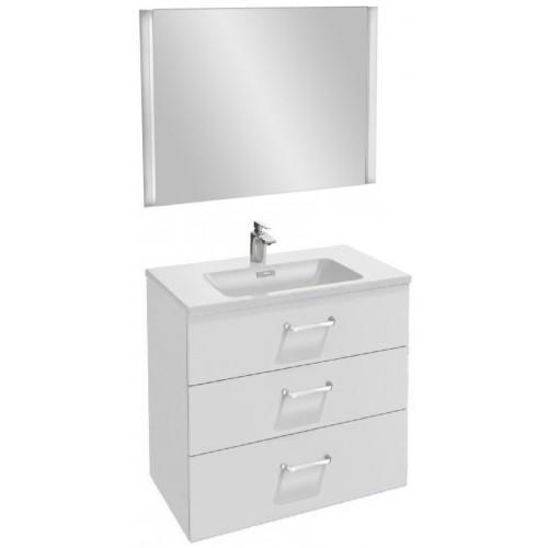 Мебель для ванной Jacob Delafon Vox 80 подвесная с 3-мя ящиками с изогнутой ручкой белый блестящий лак