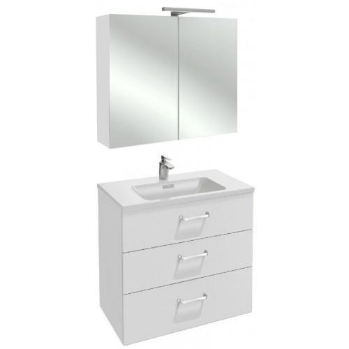 Мебель для ванной Jacob Delafon Vox 80 подвесная с 3-мя ящиками с изогнутой ручкой белый блестящий лак с зеркалом-шкафом