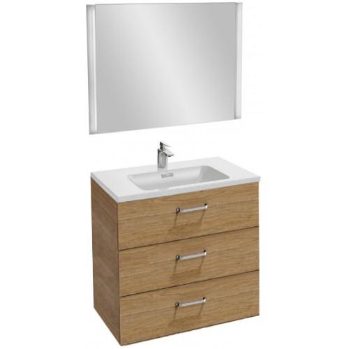 Мебель для ванной Jacob Delafon Vox 80 подвесная с 3-мя ящиками с изогнутой ручкой ореховое дерево