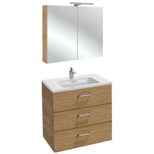 Мебель для ванной Jacob Delafon Vox 80 подвесная с 3-мя ящиками с изогнутой ручкой ореховое дерево с зеркалом-шкафом
