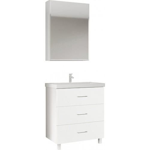 Мебель для ванной Marka One Mix 60Н с 3 ящиками, белый глянец, ручки рейлинг