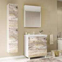 Мебель для ванной Marka One Mix 60Н с 3 ящиками, бетон, push