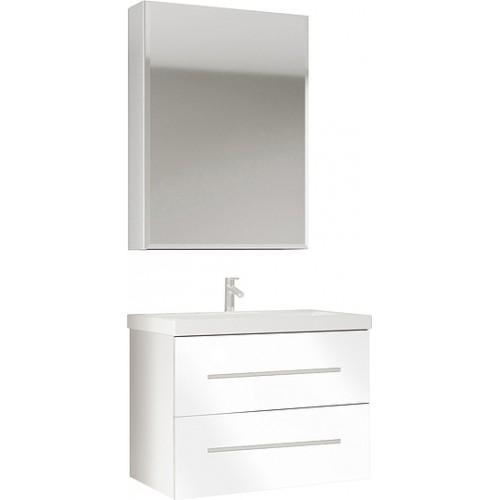 Мебель для ванной Marka One Mix 60П с 2 ящиками, белый глянец, ручки рейлинг