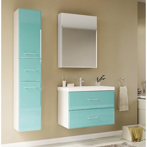 Мебель для ванной Marka One Mix 60П с 2 ящиками, бирюзовое стекло, ручки рейлинг