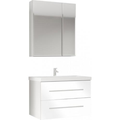 Мебель для ванной Marka One Mix 70П с 2 ящиками, белый глянец, ручки рейлинг
