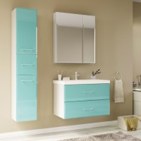 Мебель для ванной Marka One Mix 70П с 2 ящиками, бирюзовое стекло, ручки рейлинг