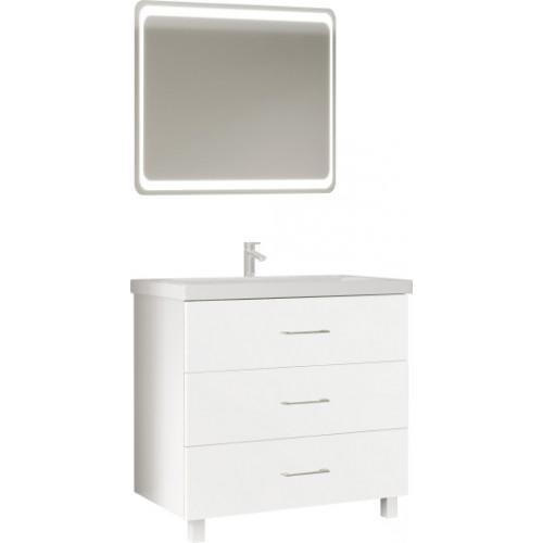 Мебель для ванной Marka One Mix 80Н с 3 ящиками, белый глянец, ручки рейлинг