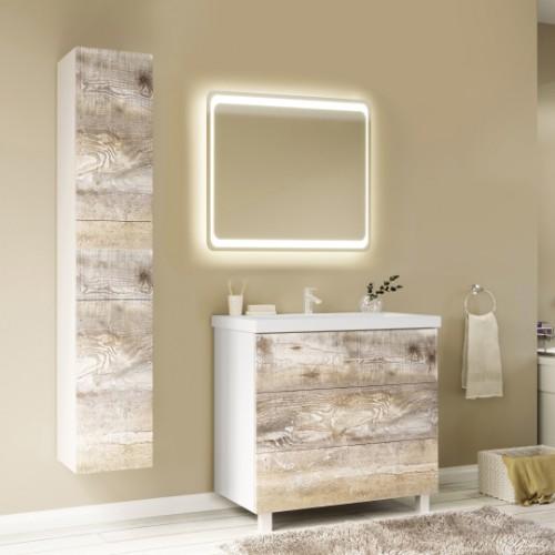 Мебель для ванной Marka One Mix 80Н с 3 ящиками, бетон, push