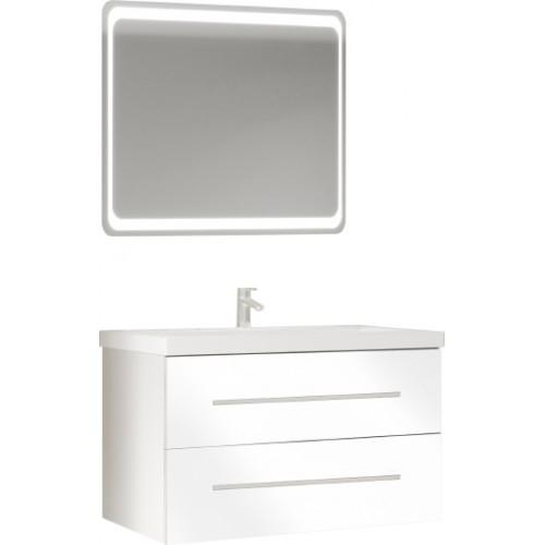 Мебель для ванной Marka One Mix 80П с 2 ящиками, белый глянец, ручки рейлинг