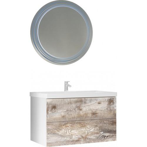 Мебель для ванной Marka One Mix 80П с 2 ящиками, бетон, push
