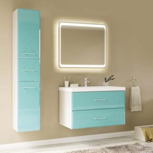 Мебель для ванной Marka One Mix 80П с 2 ящиками, бирюзовое стекло, ручки рейлинг