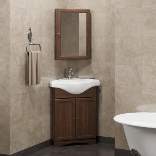 Мебель для ванной Opadiris Клио 45 напольная темное дерево правая