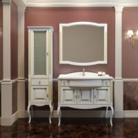 Мебель для ванной Opadiris Лаура 100 напольная белая с патиной