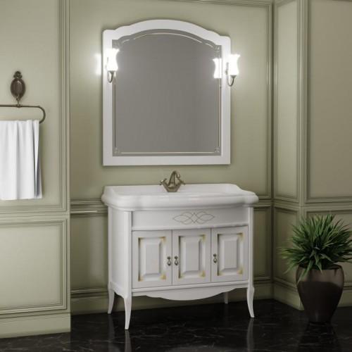Мебель для ванной Opadiris Лоренцо 100 напольная белая с патиной