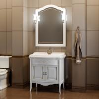 Мебель для ванной Opadiris Лоренцо 80 напольная белая с патиной