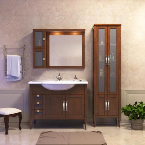 Мебель для ванной Opadiris Мираж 100 напольная темное дерево