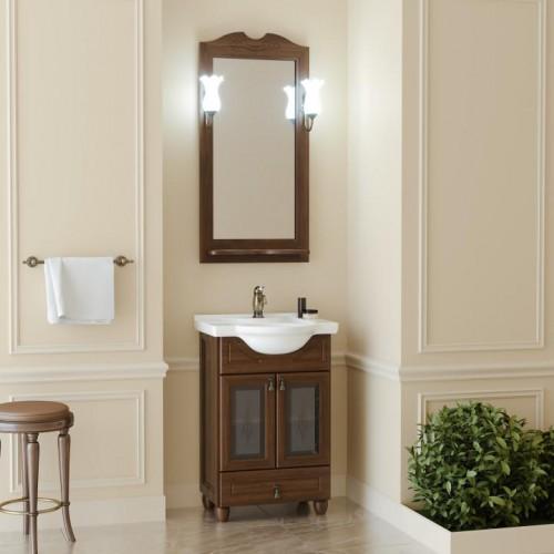 Мебель для ванной Opadiris Тибет 55 напольная темное дерево со стеклом