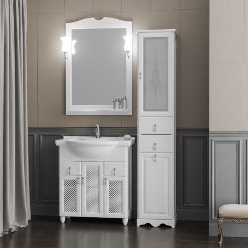 Мебель для ванной Opadiris Тибет 80 напольная белая с решеткой