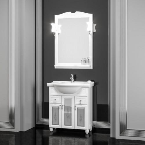 Мебель для ванной Opadiris Тибет 80 напольная белая со стеклом
