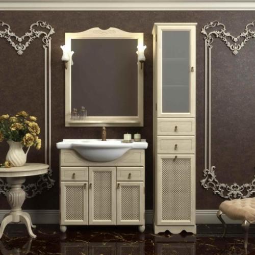 Мебель для ванной Opadiris Тибет 80 напольная слоновая кость с решеткой