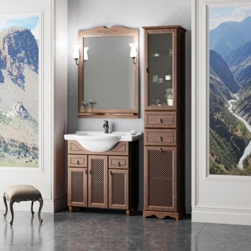 Мебель для ванной Opadiris Тибет 80 напольная темное дерево с решеткой