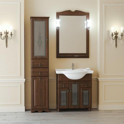 Мебель для ванной Opadiris Тибет 80 напольная темное дерево со стеклом