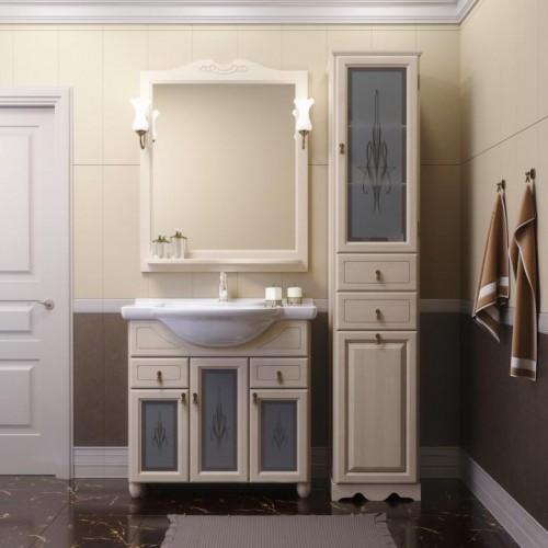 Мебель для ванной Opadiris Тибет 90 напольная слоновая кость со стеклом
