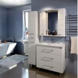 Мебель для ванной СаНта Омега 80 напольная белая с зеркалом-шкафом Омега