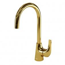 Смеситель Wasserkraft Sauer 7107 для кухонной мойки, золото глянцевое