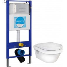 Унитаз Gustavsberg Hygienic Flush WWC 5G84HR01 безободковый и инсталляция Aquatek Slim 10.705.51C.021.81 с кнопкой смыва