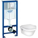Унитаз Gustavsberg Hygienic Flush WWC 5G84HR01 безободковый и инсталляция Grohe Rapid SL 38772001 с кнопкой смыва