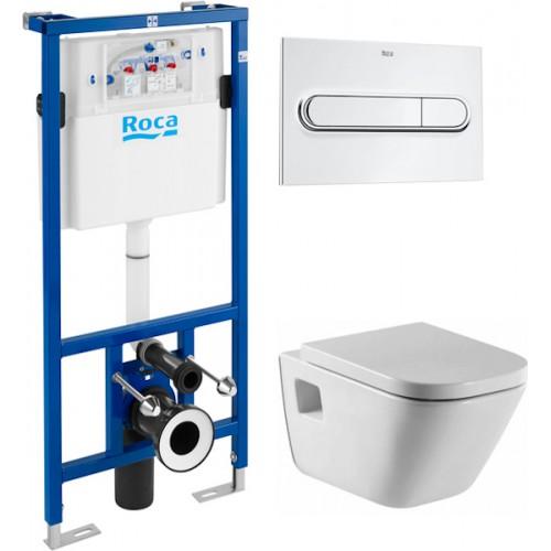 Унитаз Roca Gap 34647L000 безободковый и инсталляция Roca Duplo WC 890090020 с кнопкой смыва