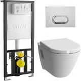Унитаз безободковый с инсталляцией и кнопкой смыва VitrA S50 9003B003-7201